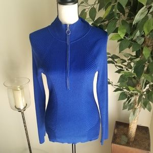 INC Blue Ribbed Sweater